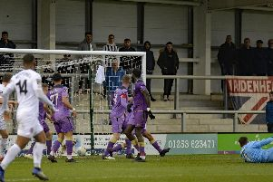 Fylde's winning goal hits the net  Picture: STEVE MCLELLAN
