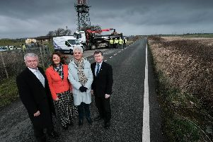 Fylde MP Mark Menzies, Coun Karen Buckley deputy leader of Fylde Council, Coun Susan M Fazackerley deputy leader of Fylde Council, County Coun Peter Buckley at the site of the new M55 link at Heyhouses