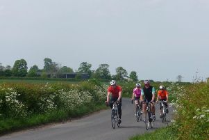 Cyclists near the Roseacre Wood fracking site