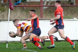 Ben Gregory finishes a strong run with Fylde's first try