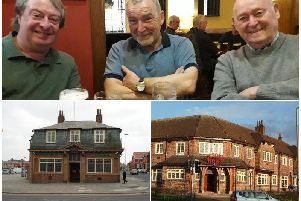 Top, Glenn Shaw, John Didlock and Alan Millington in The Bispham Hotel. Bottom, left, The Bispham and, bottom, right, the Victoria