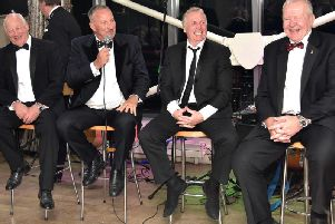 Laughs galore as Sir Ian Botham (second left) leads the tributes to fellow sporting knight Sir Bill Beaumont (far right) Picture: Fylde RFC