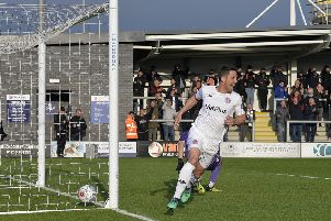 Andy Bond celebrates his goal against Harrogate Town on Wednesday night         Picture: Steve McLellan