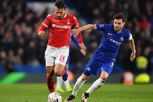 Joao Carvalho in action against Chelsea.
