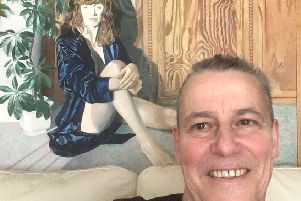 Alistair Cooke with his painting of his late wife Janet