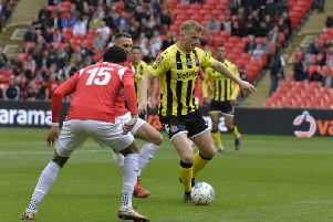 Danny Rowe had a quiet game against Salford City at Wembley Picture: STEVE MCLELLAN