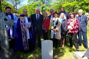 Vicar Fr David Lyon with St Annes' then town mayor Karen henshaw and parishioners at the ceremony