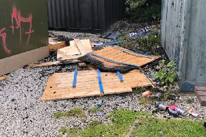 The wood damaged in the arson attack at Mount Cricket Club in Dewsbury