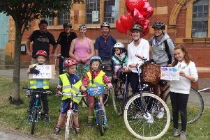 Austin Brennand was joined by family and friends for the 10k cycle ride