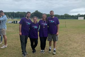 Laura Heney, of St Annes, who has lymphoma, (second right) with friends who organised a sports day for Lymphoma Action