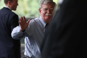 US National Security Advisor John Bolton arrives at the Intercontinental Hotel, in Mayfair, central London, to speak to members of the UK media on relations with Prime Minister Boris Johnson and his new government, Brexit and national security issues such as 5G and Iran. PRESS ASSOCIATION Photo Yui Mok/PA Wire