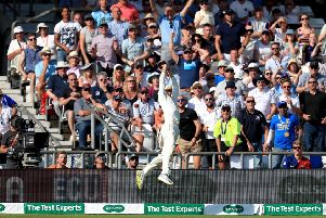 Australia's Marnus Labuschagne fails to stop a six from England's Ben Stokes.