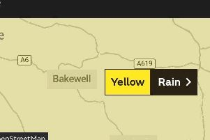 A yellow weather warning has been issued for Derbyshire