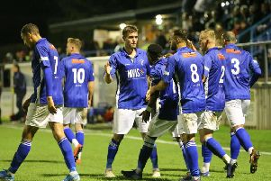 Picture Jez Tighe, Football, BetVictor Northern Premier League, Matlock Town v Scarborough Athletic, Proctor Car Stadium, Matlock, UK, 08/10/19,K.O 7.45pm''Matlock Town players celebrate after scoring a goal