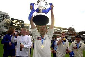 Trophy time: Chris Silverwood with the Cheltenham & Gloucester Trophy after victory over Somerset at Lord's in 2002.