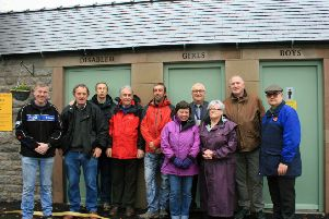 Parish councillors and local residents at the opening of the new toilet block in Youlgrave.