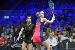 Chorley star Laura Massaro in action against Yathreb Adel (photo: PSA)