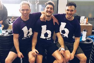 From left, Tom Oldfield, Joseph Greaves, Stewart Bothamley, all coaches at Fit Missions in Bakewell, have raised more than �4,600 for homecare charity Helen's Trust with a 24-hour workout.