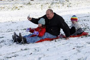 Fun in the snow at Tapton Park, Chesterfield, in 2010.