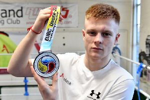Kieran MacDonald with his silver medal, won at the recent European under-22 championships in Russia.