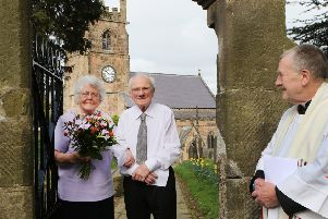Betty and John Cooke with the Rev Brian Smith on a special day at St Giles' Church.