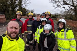Crews from Derbyshire Police and fire service while filming the video.