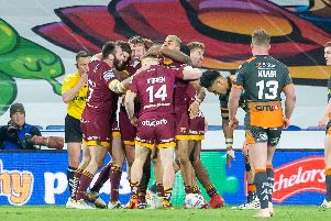 Huddersfield Giants' Alex Mellor celebrates one of his hat-trick of tries.