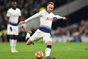 LONDON, ENGLAND - APRIL 09: Christian Eriksen of Tottenham Hotspur shoots during the UEFA Champions League Quarter Final first leg match between Tottenham Hotspur and Manchester City at Tottenham Hotspur Stadium on April 09, 2019 in London, England. (Photo by Justin Setterfield/Getty Images)