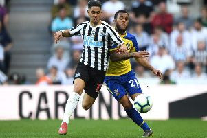 Ayoze Perez in action for Newcastle against Southampton at the weekend.