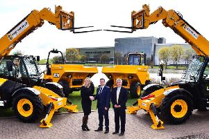 Pictured (left to right) are JCB Group Managing Director of Global Key Accounts Yvette Henshall-Bell, Plant Hire UK Managing Director Graham Jones and Gunn JCB Managing Director Paul Hartshorn.