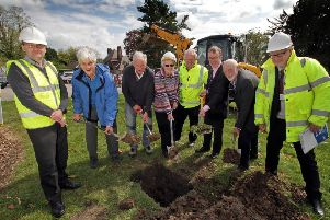 From left, engineering consultant Anthony Priest, Matlock Hospitals League of Friends members  Tom Pilkington, Brian Wood and Pam Wildgoose, building contractor Philip Johnson, William Jones of Derbyshire Community Health Services NHS Foundation Trust, Friends chairman Mike Tomlinson, and DCHS project manager Foster Lewins.