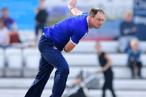David Stiff removed the dangerous Simon Lambert on his way to figures of 2-20 from four overs but he was unable to prevent Hanging Heaton slipping to defeat off the penultimate ball of their T20 Cup semi-final against Undercliffe. Picture: Paul Butterfield