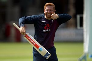 England's Jonny Bairstow gives a thumbs up during the nets session at Lord's, London..