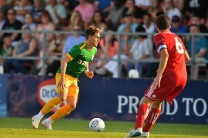Josh Harrop in action for Preston against Accrington at Leyland. Pic courtesy of PNE
