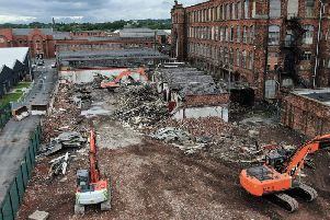 The wall at Eckersley Mill from above. Drone picture by Brian King