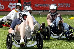2007: Visitors to the first Extreme Sports Festival in Matlock enjoy racing the KMX carts.