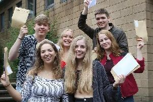 Highfields students celebrating their results.