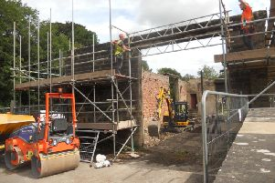 Work to restore the goods shed at Millers Dale station is underway. Photo: Peak District National Park Authority.