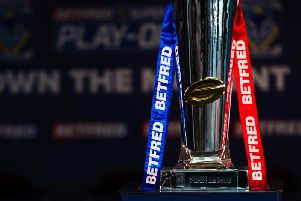 The Super League trophy at Old Trafford today