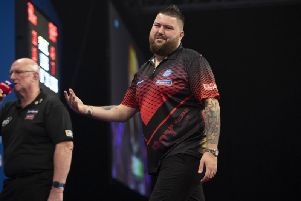 Michael Smith during his Grand Slam of Darts quarter final defeat. Picture: PDC.TV