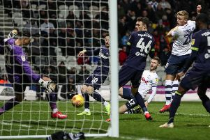 PNE's Paul Gallagher has his shot saved by Derby's Kelle Roos last season
