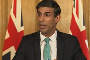 Chancellor Rishi Sunak answering questions from the media via a video link during a media briefing in Downing Street. Photo: PA Video/PA Wire