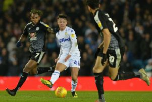 Jamie Shackleton in first team action with Leeds United.
