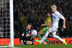 Ezgjan Alioski about to score Leeds United's fourth goal against West Brom. Picture: Bruce Rollinson