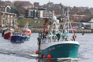 A flotilla of fishing boats on the Tyne in a protest, organised by Campaign for an Independent Britain and Fishing for Leave last April. Photo by PA.