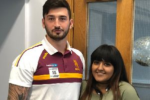 Huddersfield Giants star Oliver Roberts, who attended the launch, and care leaver Taz Iqbal.