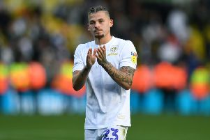 Kalvin Phillips applauds the Leeds United fans for their support in the game against Birmingham City.