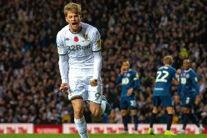 Patrick Bamford celebrates scoring his penalty for Leeds United against Blackburn Rovers.