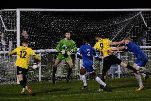 Near miss for Nailers duo Alex Peterson and Charlie Dawes in Saturday's home defeat to Leek Town. Pic credit: Tim Harrison.
