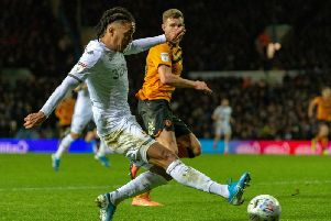 Helder Costa gets in the cross that led to Leeds United's opening goal against Hull City.